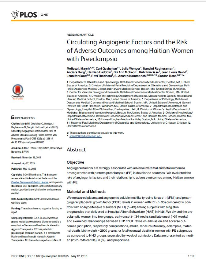 Circulating Angiogenic Factors and the Risk of Adverse